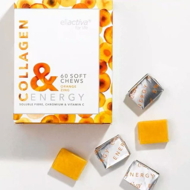 Ellactiva Collagen& Energy chews deliver  clinically proven visible skin, hair and nail benefits, whilst helping you boost your energy levels uniquely combining optimised Bioactive Collagen Peptides® with Vitamin C, Chromium Picolinate and prebiotic dietary fibres.  Ellactiva Collagen& Energy chews are packed with optimised Bioactive Collagen Peptides® that ...🍊 Increase skin elasticity🍊 Significantly reduce wrinkles🍊 Decrease cellulite🍊 Strengthen hair and nails🍊 Increase skin pro-collagen concentrationWhilst, Vitamin C supports normal energy-yielding metabolism, Chromium Picolinate helps maintain blood glucose levels and Inulin, FOS and Resistant Starch help nourish gut-friendly microbiome to promote healthy digestion.  Whatever your reason, Collagen& Energy chews are here to give you that everyday glow and energy boost when you need it most!