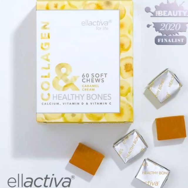 ❤️ Ellactiva® COLLAGEN& Healthy Bones soft chews! ❤️ AWARD WINNING ❤️  ⁠The Ultimate Wellness Supplement, uniquely combining Bioactive Collagen Peptides® with Calcium, Vitamin D3, Vitamin C and prebiotic fibre.  Delivering 2500mg of optimised Bioactive Collagen Peptides® for more youthful and smoother looking skin whilst Vitamin C helps maximise collagen synthesis and added 1200mg  of calcium and 10 µg  Vitamin D help maintain healthy strong bones and nourish from within.  The Bioactive Collagen Peptides® used in Ellactiva Collagen& Healthy Bones are clinically proven to: 